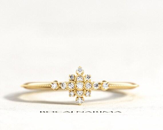 Dainty Filigree Diamond Engagement Ring, Delicate Milgrains Diamond Ring, Yellow Gold Crown Diamond Ring, Art Deco Ring, Snowflake Ring