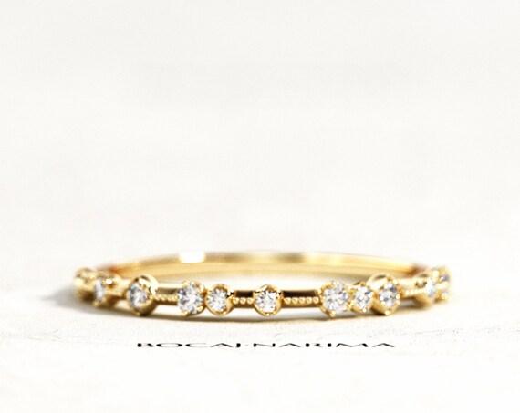 Thin Milgrains Diamond Wedding Band, Thin Stackable Ring, Milgrains Stacking Ring, Minimal Stackable Ring, Knife Edge Diamond Wedding Band