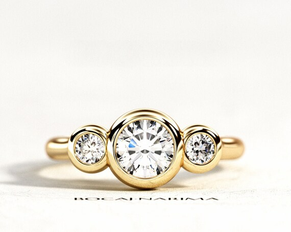 1 Carat Forever One Moissanite Three Stone Ring, 1ct Moissanite and .34ct Diamonds Bezel Set Engagement Ring, Three Stone Bezel Set Ring