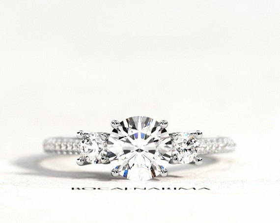 1ct Forever One Pave Engagement Ring, Three Stone 1ct Moissanite and .32ct Diamonds Ring, White Gold Three Stone 4 Prongs Ring, Bridal Ring