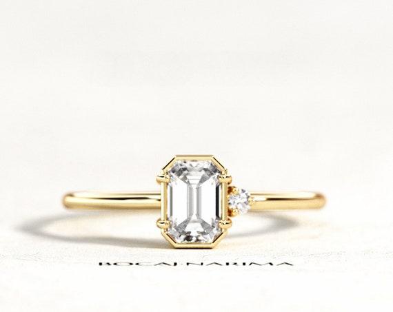 0.5 ct Diamond or Moissanite Emerald Cut Engagement Ring, Dainty Art Deco Emerald Diamond Ring, 6x4mm Emerald Engagement Ring, Emerald Ring