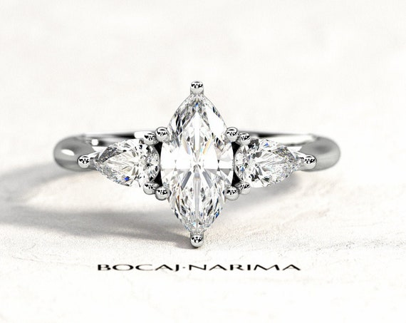 1 Carat Marquise Forever One Moissanite Three Stone Engagement Ring, 1ct Moissanite and .60ct Diamonds, 3 Stone Gallery Engagement Ring,