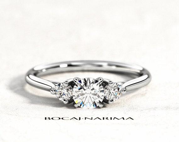 0.5 Carat Diamond or Moissanite Three Stone Ring, Dainty 3 Stone Engagement Ring, Trellis Three Stone Ring, Two Side Natural Diamonds .22ct