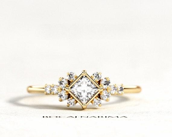 Princess Cut Diamond Engagement Ring, Cluster Engagement Ring, Geometric Diamond Ring, Dainty Cluster Diamond Ring, Princess Cut Ring