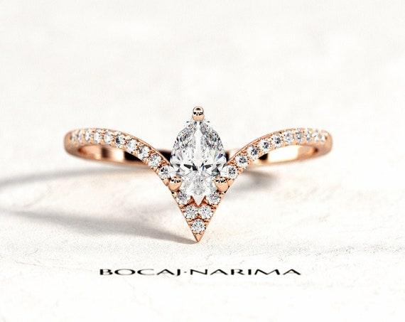 0.5 Carat Pear Cut Moissanite or Diamond V Shape Engagement Ring, Rose Gold Chevron Engagement Ring, Pear Cut Nesting Diamond Ring