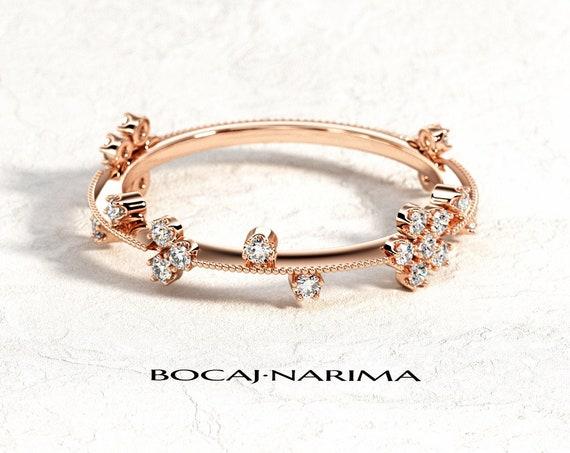 Rose Gold Milgrains Wedding Band, Unique Wedding Band, Filigree Thin Wedding Band, Thin Milgrains Diamond Ring, Rustic Wedding Band