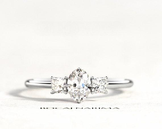 0.5 Carat Oval Diamond or Moissanite 3 Stone Engagement Ring, Three Stone Diamond Ring, 0.5ct Oval and 0.26ct Princess Cut Diamonds