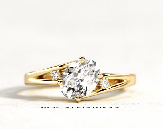 1 Carat Oval Forever One Moissanite Engagement Ring, Twisted Engagement Ring, Yellow Gold Three Stone Ring, Split Shank Engagement Ring