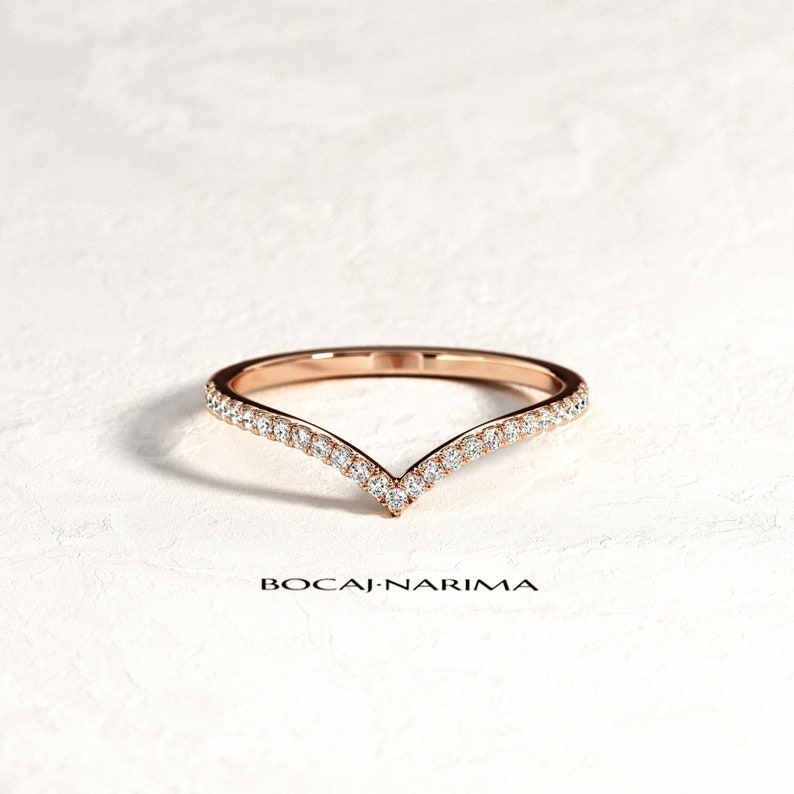 26891172400f1 V Diamond Ring / Chevron Curved Diamond Ring / Rose Gold V Nesting Pave  Ring / Half Eternity Stack Ring / Stackable Chevron Ring