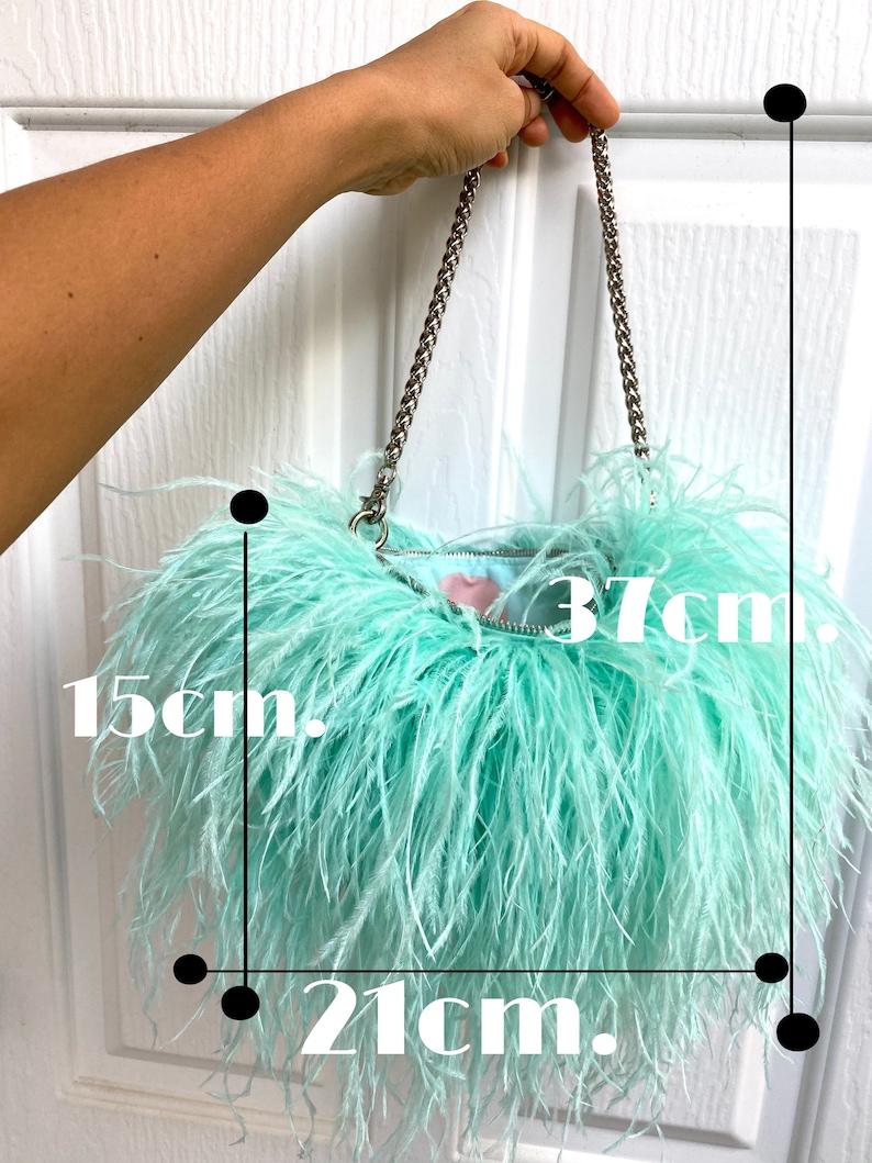 SGinstar Arin Mint Green Ostrich Feathers Purse