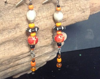 Wooden and Glass Bead Dangle Earrings