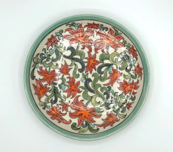 Handmade floral pottery bowls