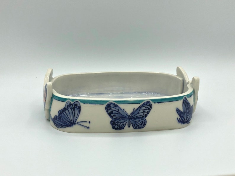 mishima,blue botanical garden Hand made and painted Blue butterfly fruit bowl sgraffito porcelain bowl
