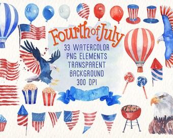 fourth of july watercolor clipart. imágenes prediseñadas de acuarela Ideal para, imprimibles, tarjetas, carteles, pegatinas, web y mucho más