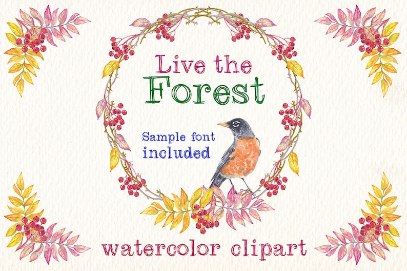 Watercolor Live The Forest Png Clipart Images Of Watercolor Etsy