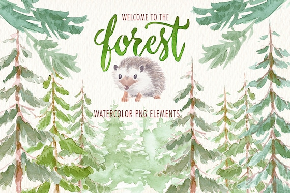 watercolor in the forest png clipart images of watercolor etsy etsy