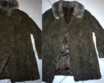 d53014c6119 German womens brown swakara karakul lamb fur coat jacket M elegant luxury  pelz russian winter stylish trachten loden hunting llama mod curly