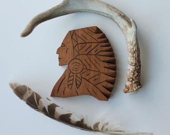 Vintage Wood Carving, Wooden American Indian Face, Carved American Indian Face, Native American Art