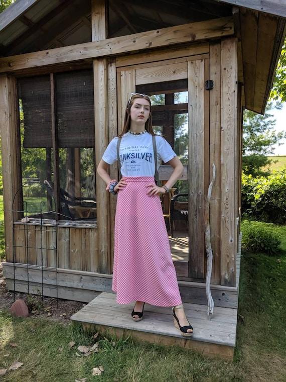 Vintage Maxi Skirt, Pink Check Maxi Skirt, Pink an