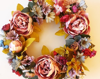 Peony and spring floral Wreath- FREE DELIVERY to Australian Addresses