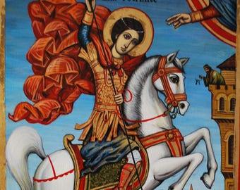 St.George.eastern orthodox icon-egg tempera on solid wood,handpainted original,17''x11''