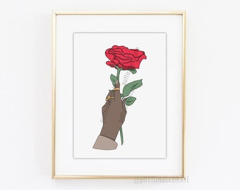 Hand with Red Rose Art Print, red rose art, rose printable art, african american art digital, hand drawn rose illustration A4 LETTER