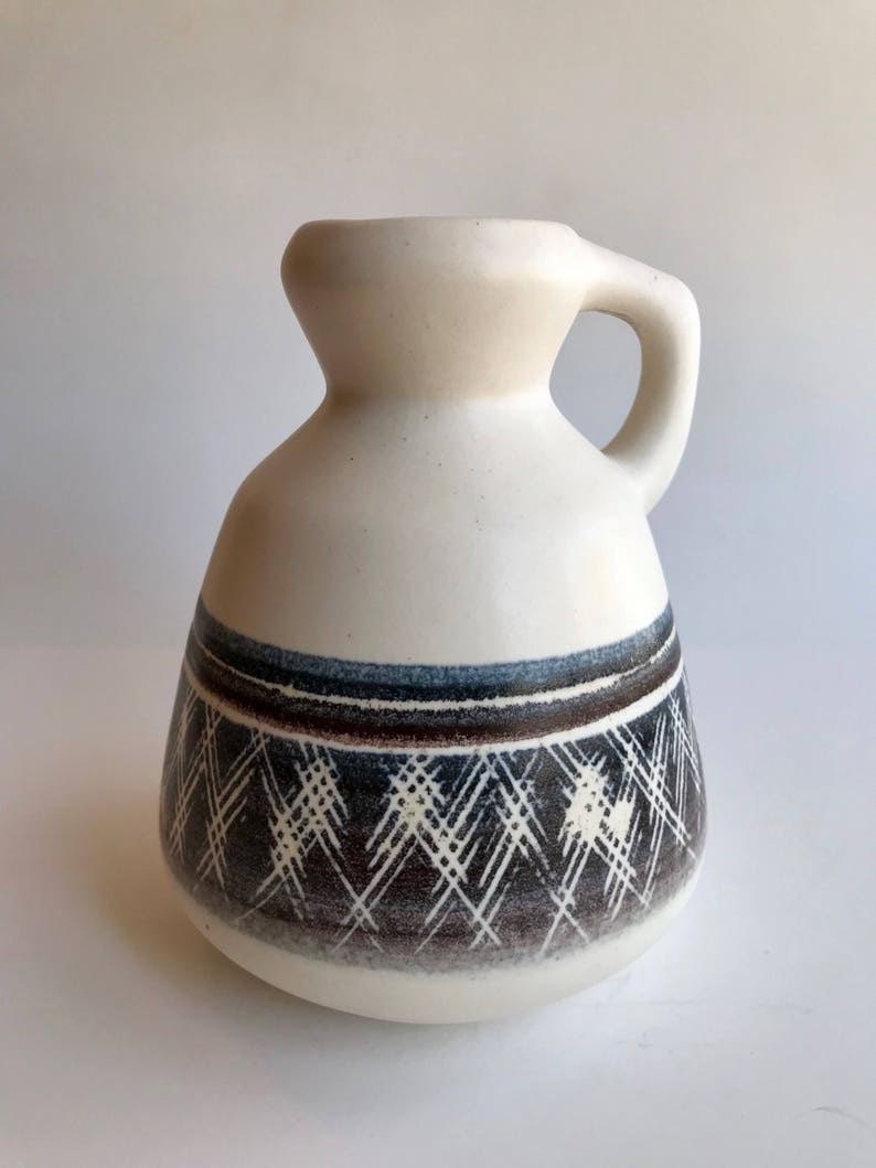 Blue and Red Printed Israeli Ceramic Pottery Jug Stamped with Single Handle White