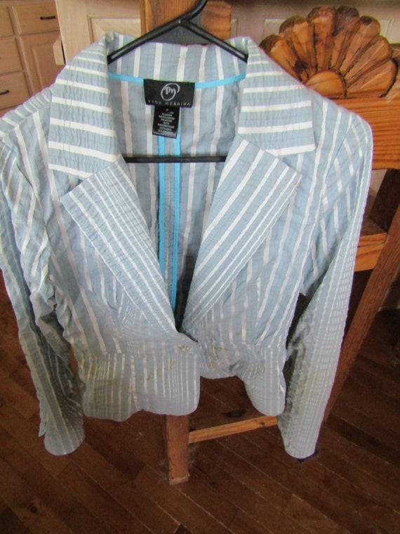 Seersucker  Striped Blazer, Small     Vintage