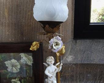 Mid Century Decorative French Table lamp Cherub & Gilt