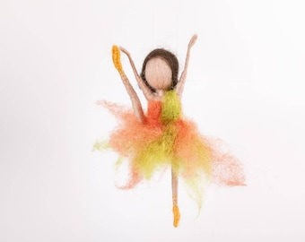 Ballerina in unusual dress, Dance, Waldorf, needle felted, doll