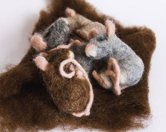 Sleeping Mice, Waldorf, needle felted, animals