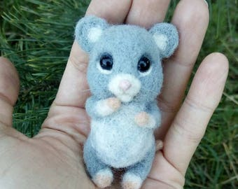 Needle Felted Grey Mouse Forest Felted Animal Wool Sculpture Toy Baby Nursery Decor Rat Home Pet  Collectible Felted Toy Mouse Animal Plush