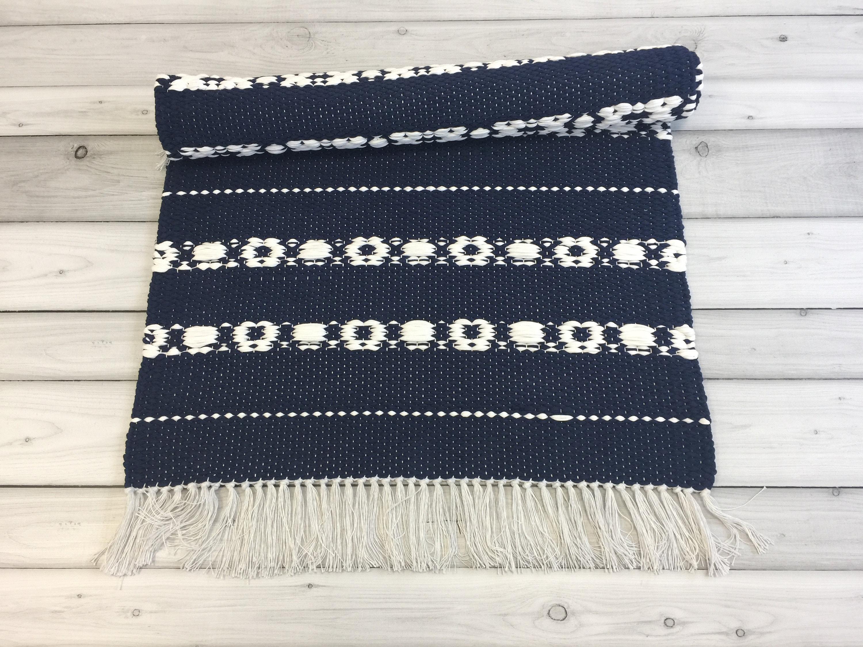Blue And White Scandinavian Rugs Runner Handwoven Cotton Etsy