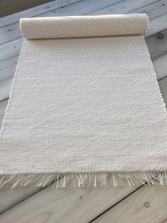 Runner rug, scandinavian cotton throw rug, small nursery chindi carpet,  modern washable rag rug, kitchen or bathroom natural white rug