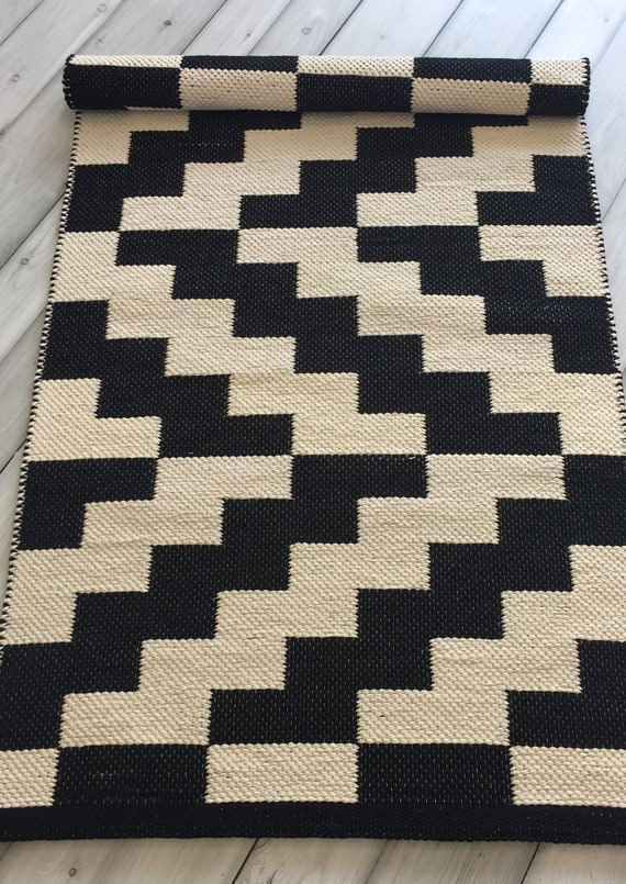 Black And White Scandinavian Rugs Cotton Kitchen Rug Runner Handwoven Nursery Rug Bedside Rug Washable Handmade Rug Floor Rug