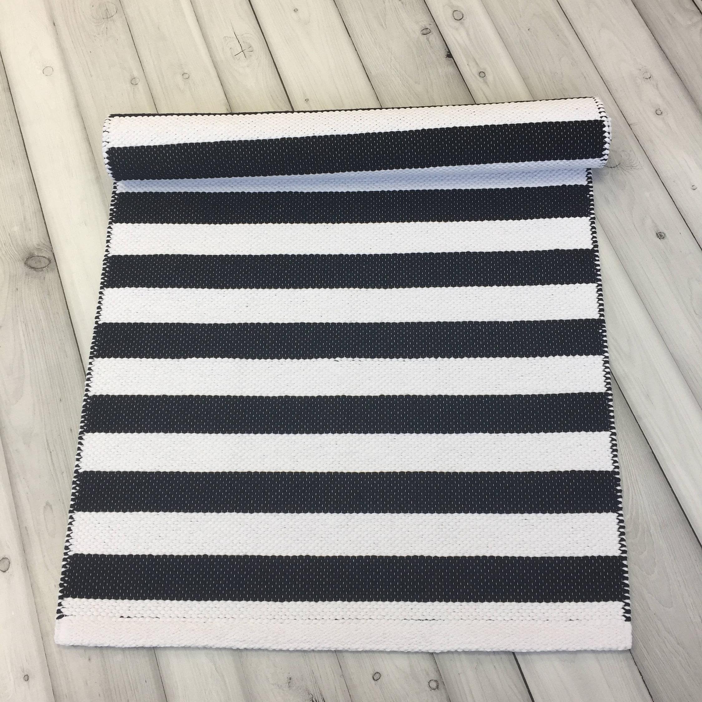 Black Kitchen Floor Runner: Black And White Striped Rug Floor Runner Rug Scandinavian