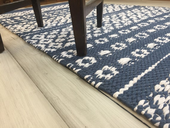 Scandinavian Rug Blue Rug Runner Small Hand Woven Kitchen Rug Swedish Cotton Rag Rug Washable Kitchen Floor Decor Area Floor Rug