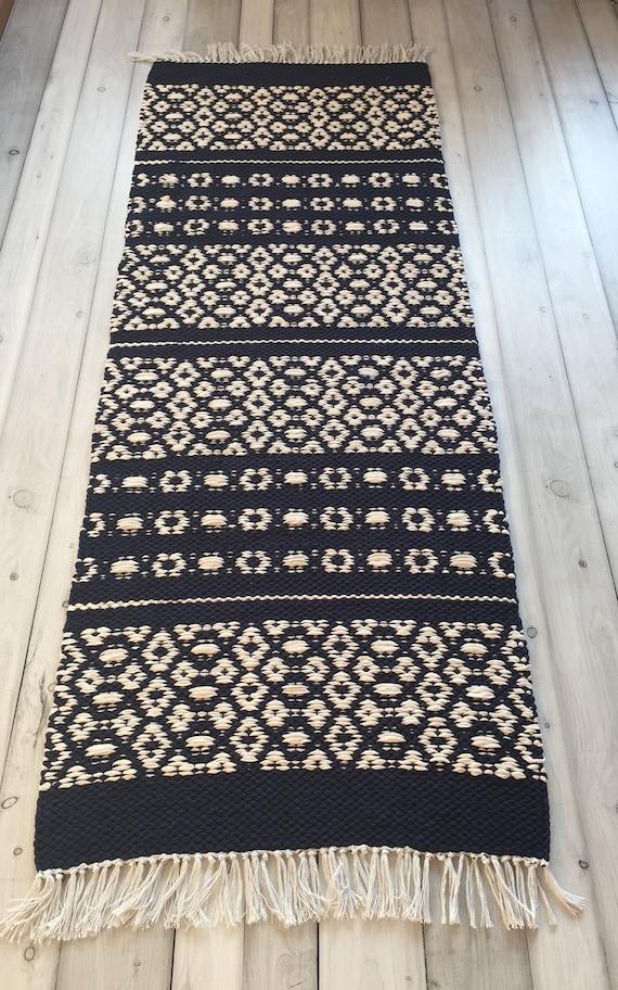Scandinavian rug, Blue White rugs, runner rugs, floor rug, kitchen rugs,  accent rug, handwoven rug, washable rugs, bedroom rugs, nordic rug.