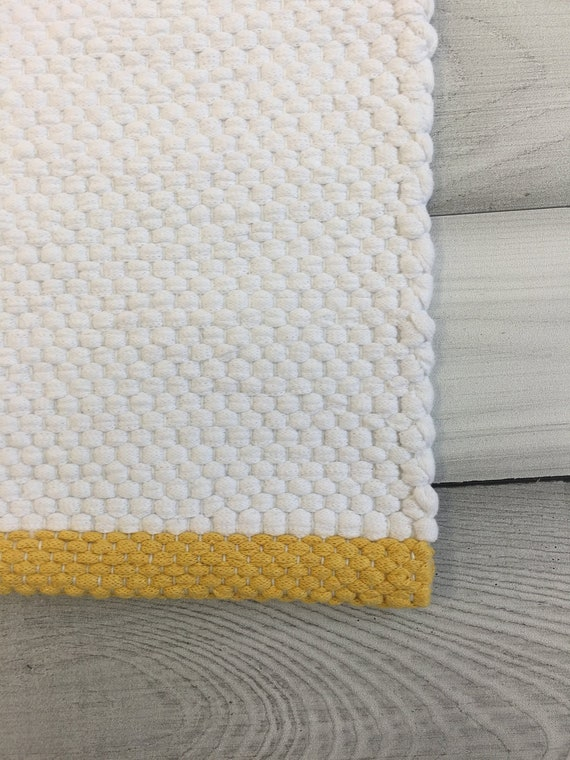 Throw rug, Scandinavian white rug, small runner rug, cotton washable rug,  modern rag rug, Swedish nursery rug, bathroom rug, kitchen mat