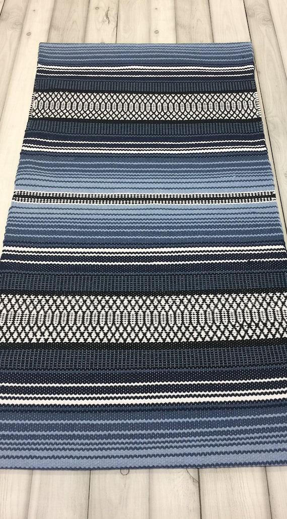 Blaue Laufer Skandinavischen Teppich Waschbar Kuche Etsy
