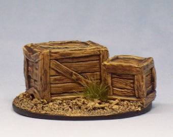 Large and Small Crates painted Reaper miniature D&D rpg mini dungeon scenery bones