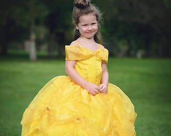 edff094a2e15 Belle Dress / Disney Princess Dress Beauty and the Beast Belle Costume / Yellow  Dress / Ball gown for toddler, child, girl Belle Costume