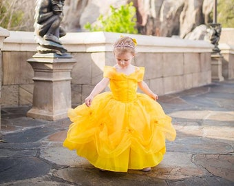 b2323c43f10 Belle Dress   Disney Princess Dress Beauty and the Beast Belle Costume    Yellow Dress   Ball gown for toddler