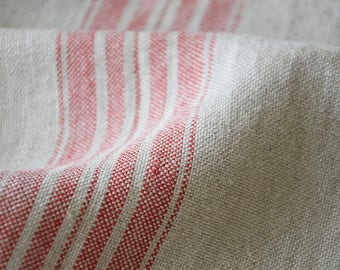 Striped Linen Fabric By The Meter Natural Linen Striped Etsy