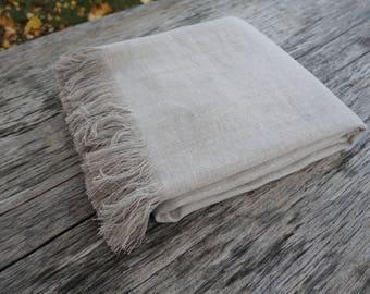 Linen blanket, fringed linen blanket, linen throw, flax blanket, pastel linen blanket, natural linen blanket, bedspread, bedding