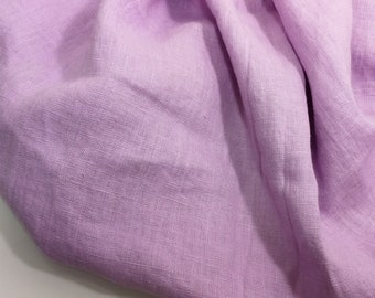 Linen fabric, washed linen, 190gsm, pink lavender color. Linen fabric by the meters, linen by the yard