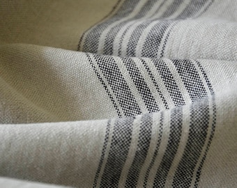 Striped linen fabric by the meter, natural linen, striped linen, softened linen fabric, black stripes, french grain sack, 350GSM, upholstery