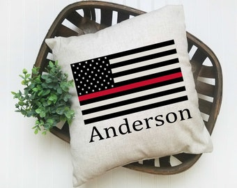 Thin Red Line Lake Mead American Flag Premium Pillow Case w stuffing