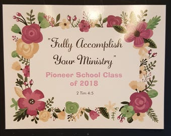 """JW """"Fully Accomplish Your Ministry"""" Pioneer School 2018 Graduation MAGNETIC Post Card / Flat Cards / Gift for Pioneers"""