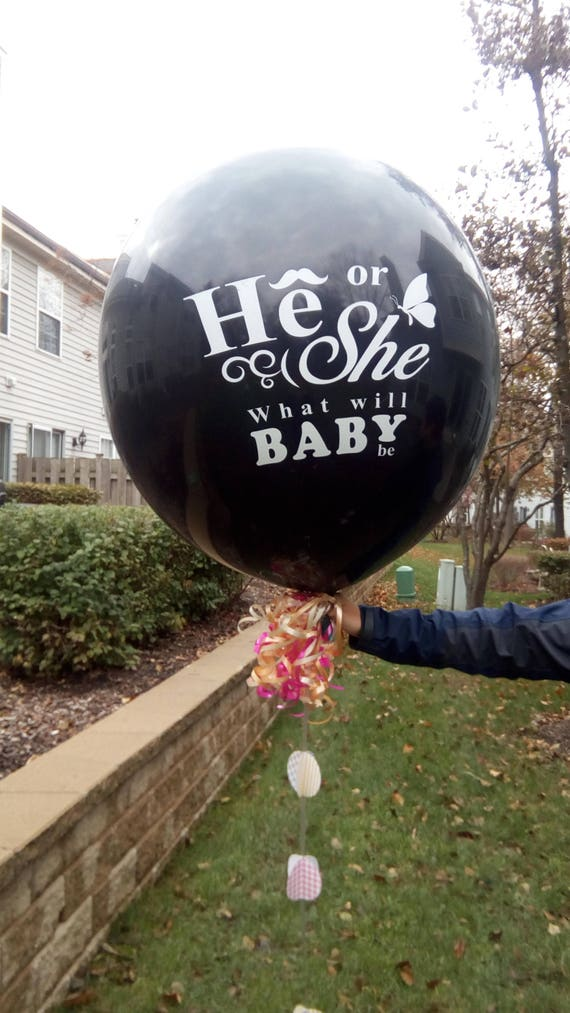 """SISTER OR BROTHER 3 Feet 36 /""""  He or She  BABY SHOWER GENDER REVEAL POP BALLOON"""